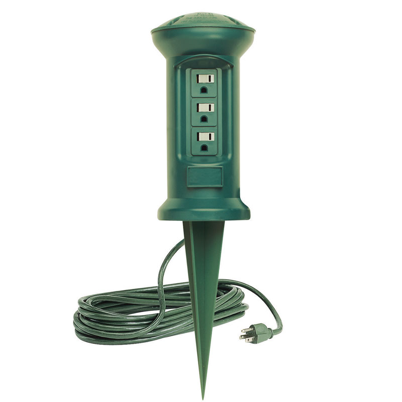 Outdoor Lamp Clearance: 3-Outlet Swivel Head Outdoor Power Stake