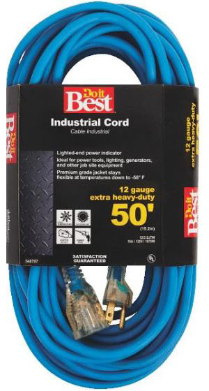 50' Cold Temperature Extension Power Cord - 12/3 - Blue