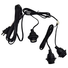 Triple Socket Lantern Light Strand Set - Black Wire