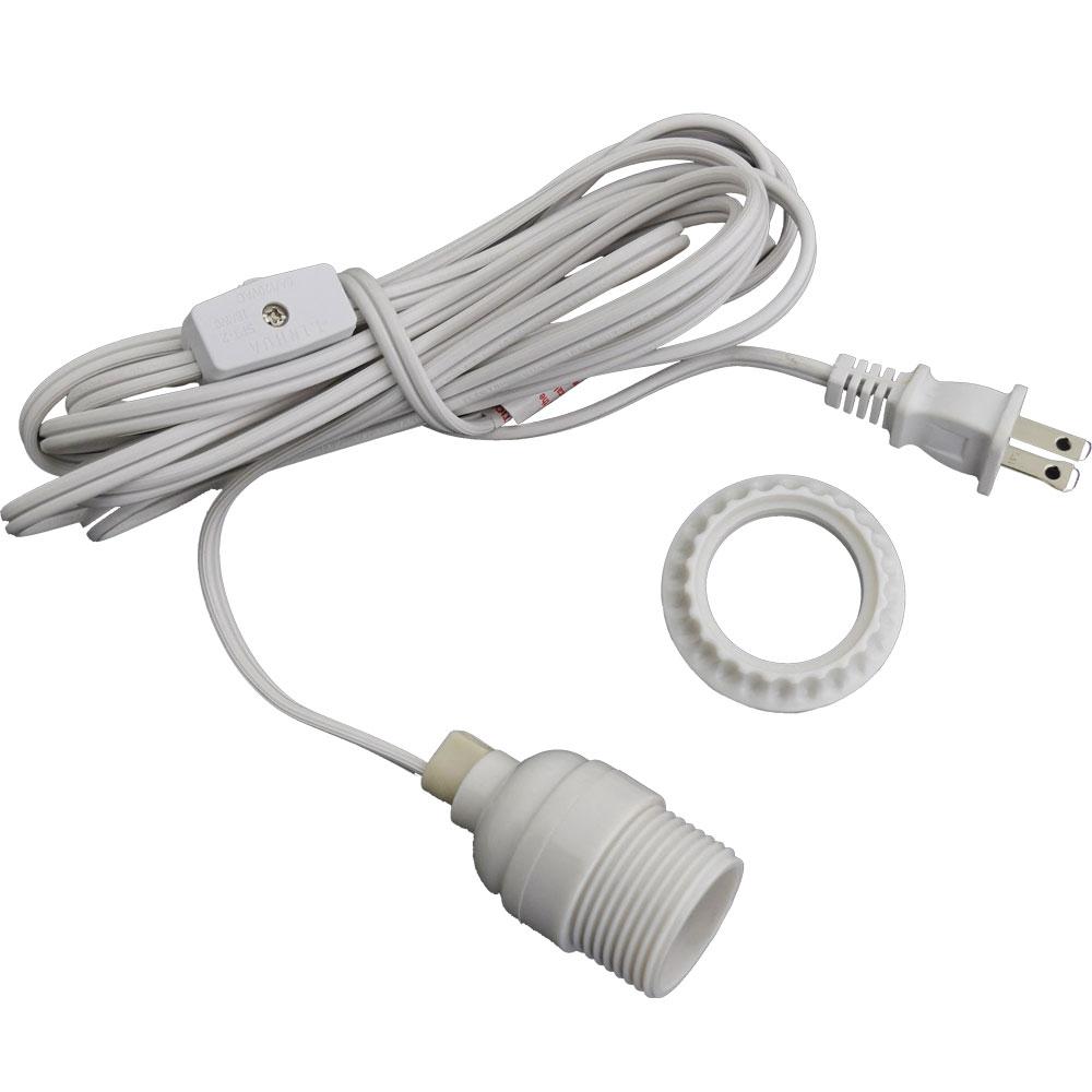 White Lantern Power Cord Light Socket Set Standard Base