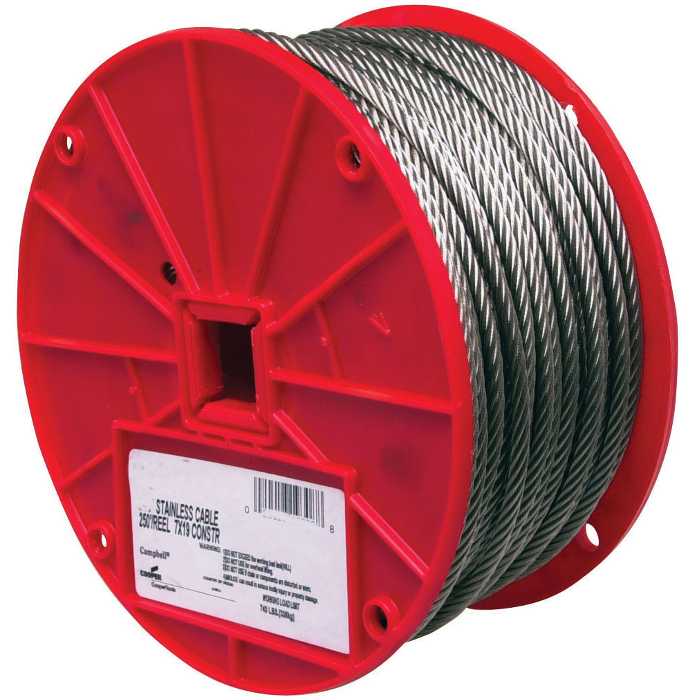 Uncoated Galvanized Steel Cable - 500' Long - 1/8