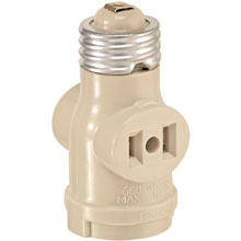 Leviton Single Light Socket 2 Outlet Adapter - Ivory