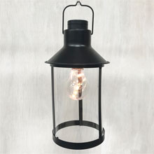 "Black Metal Lantern with Edison Light Bulb - 11"" GC42784"