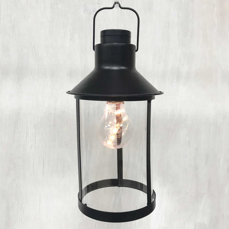 Black Metal Lantern with Edison Light Bulb - 11