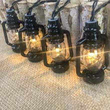 "82.5"" Battery Operated LED Black Lantern Light Set"