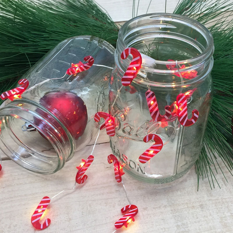Mini Candy Cane LED Battery Operated String Lights