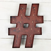 "12"" Rustic Brown Lighted ""#"" Sign"