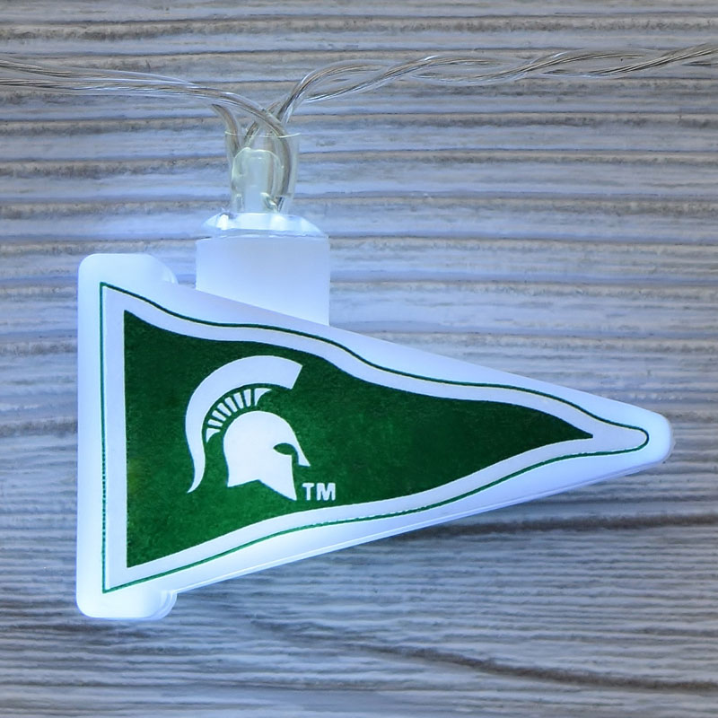 NCAA Michigan State Spartans LED Pennant String Lights - Battery Operated TP-NCAA/MICSTA