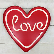 "14"" LED Neon Heart "" Love"" Sign - Battery Operated"