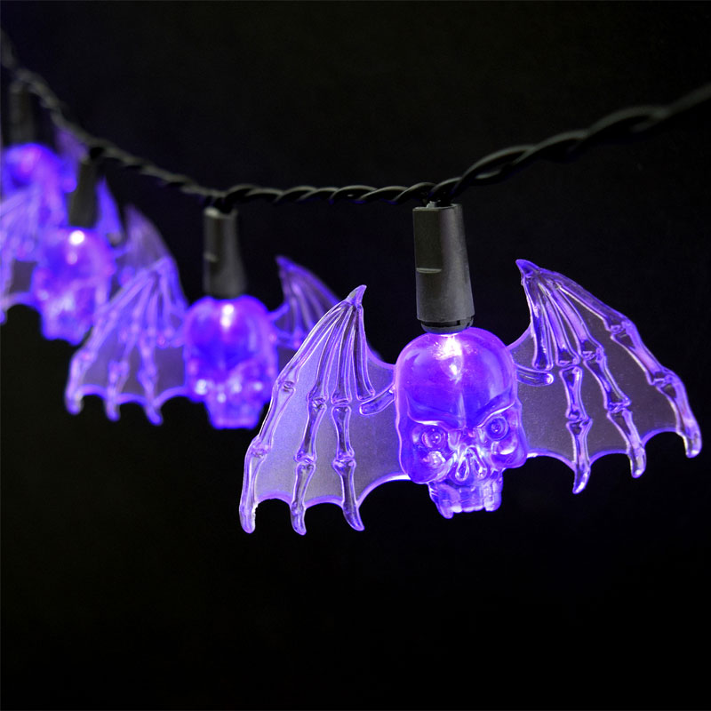 Purple Bat Party String Lights - Battery Operated - 10 Lights BS-10800
