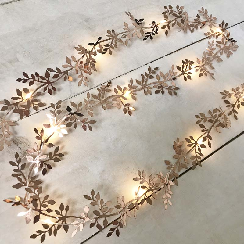 Rose Gold Leaf Garland Light 10 Ft