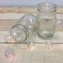 Silver Wire LED Sphere String Lights - Warm White - Battery Operated