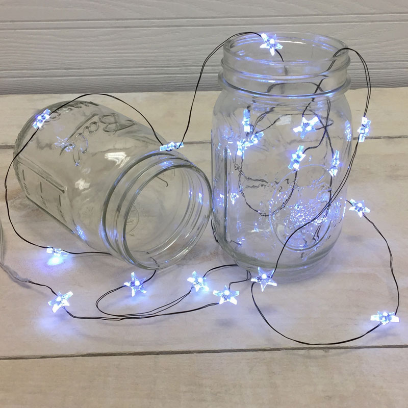 White Star Led Ultra Thin Wire String Lights Battery Operated