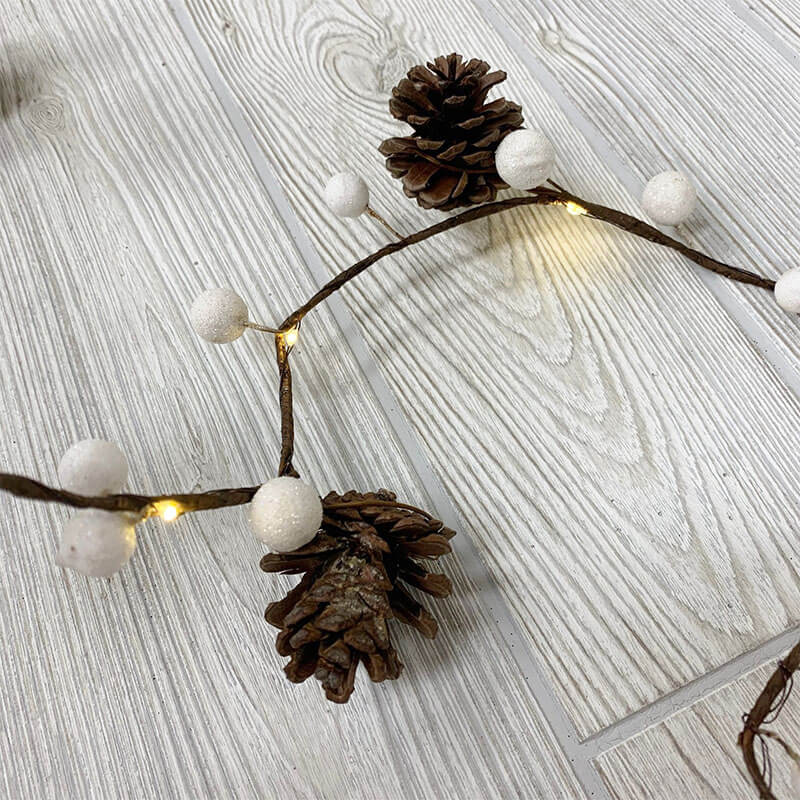 Red Berry Pinecone Garland LED Light Strand DR-30080679