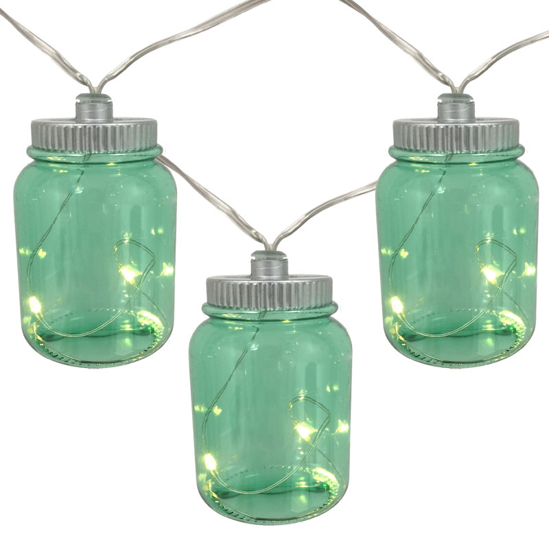 Green Canning Jar String Lights Battery Operated