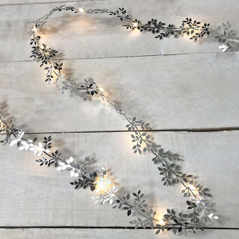 Silver Leaf LED Garland Light - 10 ft. GC2440580