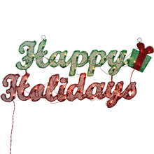 "Happy Holidays Lighted Sign - 18.5"" x 36"""