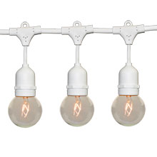 100' G50 Globe Commercial String Lights - White Suspended