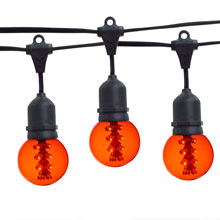 21' Amber Designer LED Globe Light Strand Kit - Black Wire