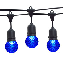 21' Blue LED Globe Light Strand Kit - Black Suspended Wire