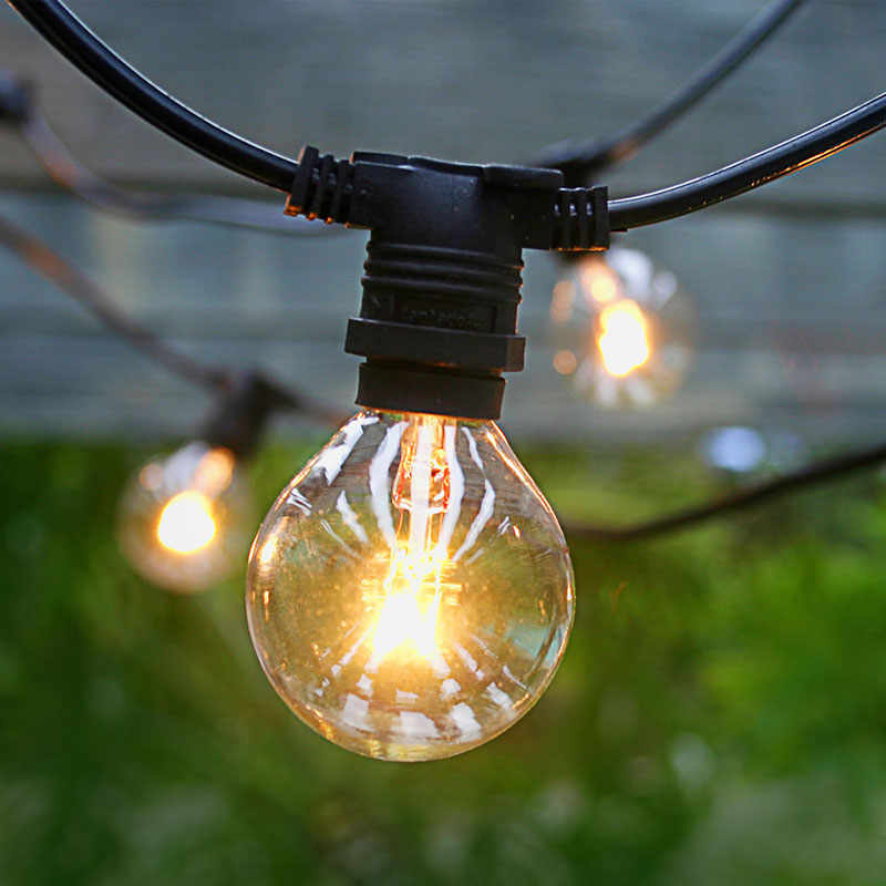 Black C7 Commercial Globe String Lights Patio Outdoor