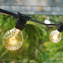 Patio String Lights - Commercial Grade 54' - G40 Globe Lights - Black AIS-50BKC7