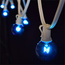 25' Blue C7 Globe String Lights - White Strand