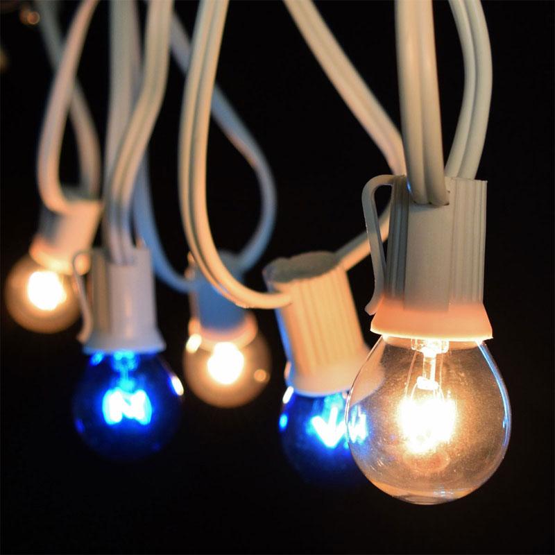 Commercial Globe String Lights: 25' Commercial Blue/Clear Globe Light Strand
