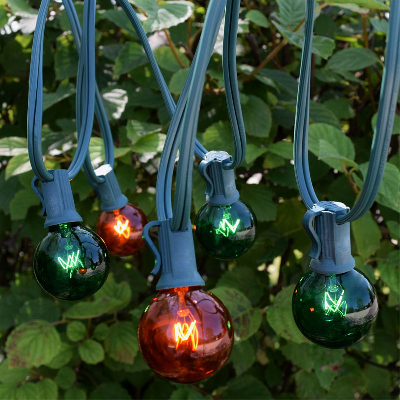 25' C7 Green/Amber Globe String Light Strand