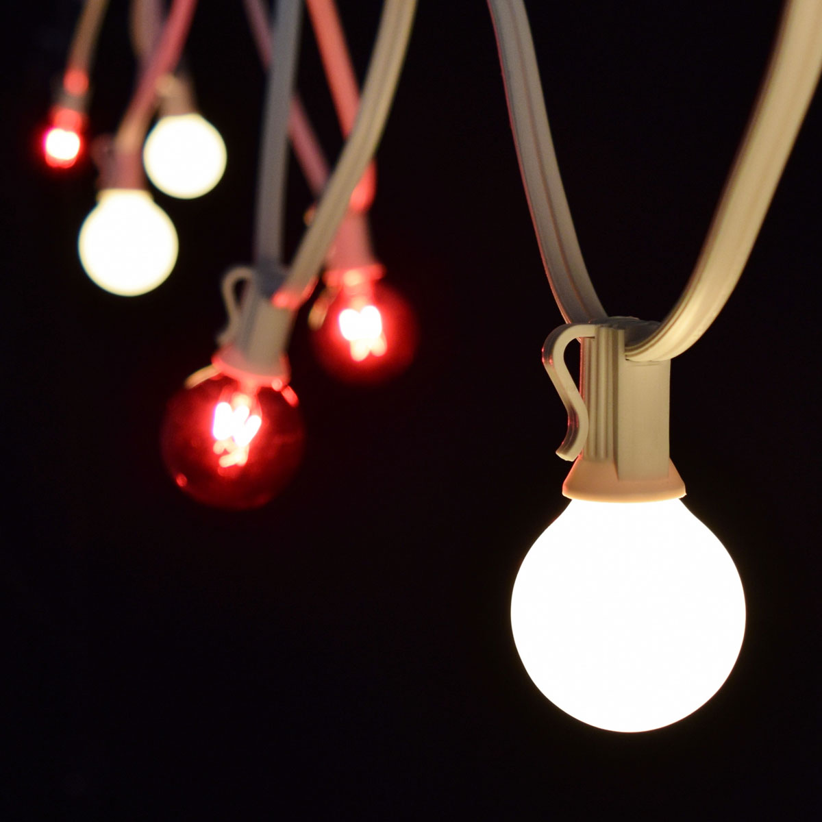 50' Red/Frosted White Commercial String Lights - White Wire