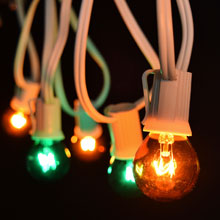 50' Green/Amber Globe String Lights - White C9 Light Strand