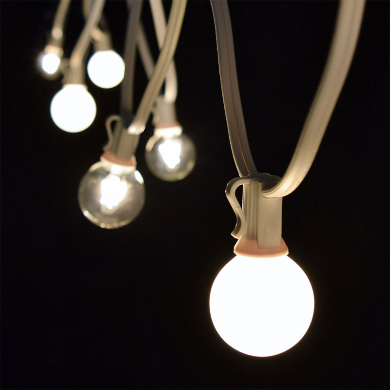 100' Clear/White Globe String Lights - White C7 Strand