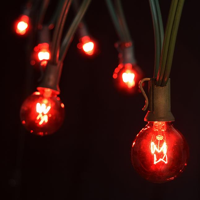 50 foot c7 red christmas globe string light kit