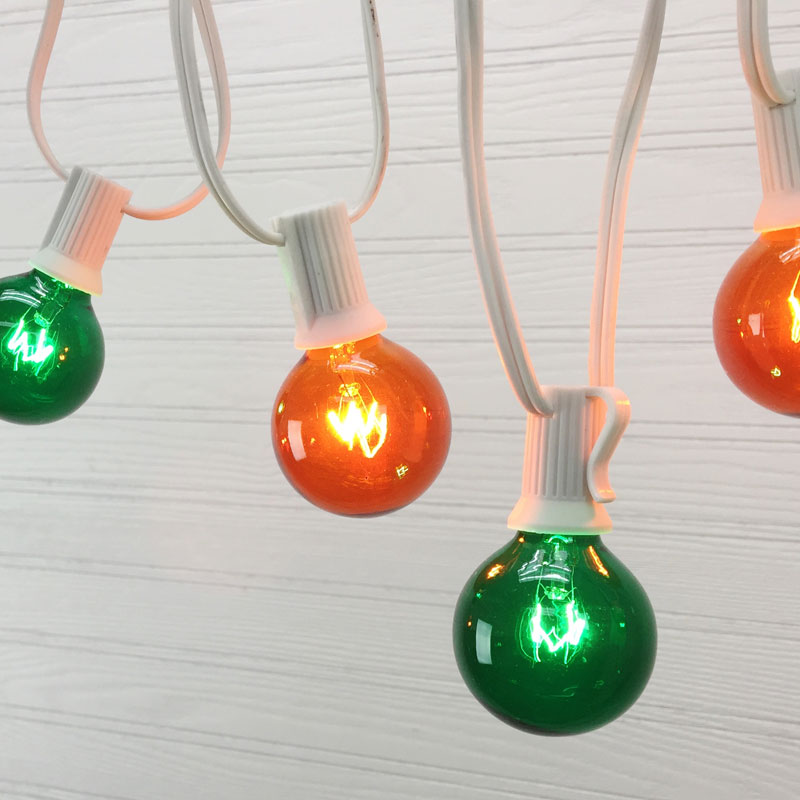100' C7 White Light Strand - Green/Amber Globe Lights