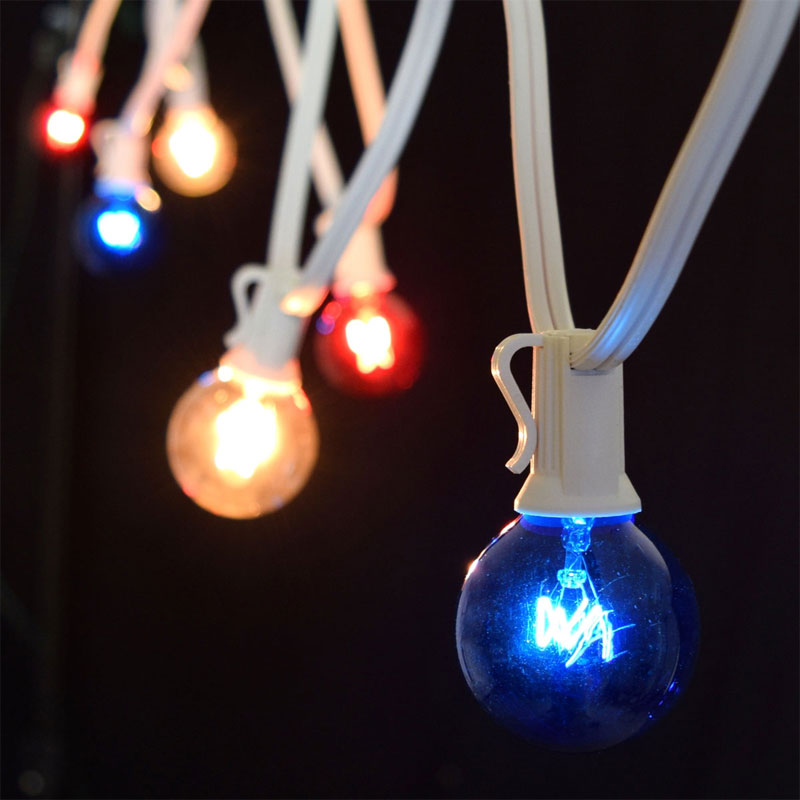 C7 Red, White, & Blue Globe String Lights - 50' White Wire