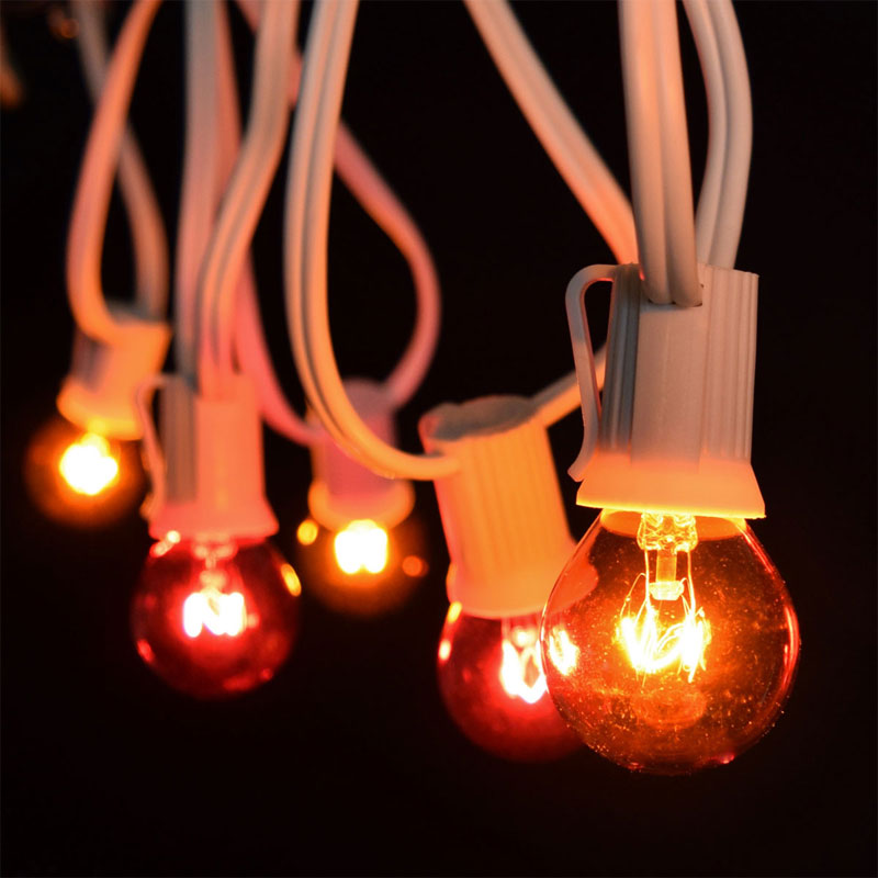 50' Red/Amber Globe String Lights - White C9 Strand