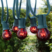 50' C9 Light Strand Kit, Red G50 Globe - Intermediate Base