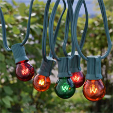 50' C9 Red, Green, Orange Globe String Lights - Green Wire