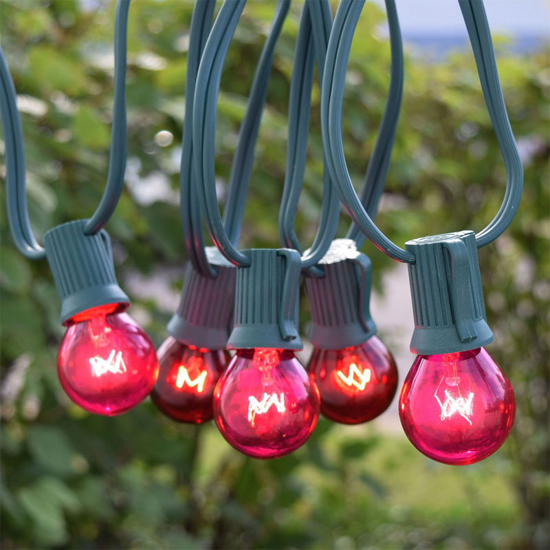 50' Red/Pink Globe String Lights - Green C9 Strand