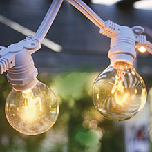 Patio String Lights - Commercial Grade 54' - G40 Globe Lights - White AIS-50WHC7