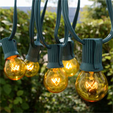 50' C9 Yellow Globe String Lights - Green Wire