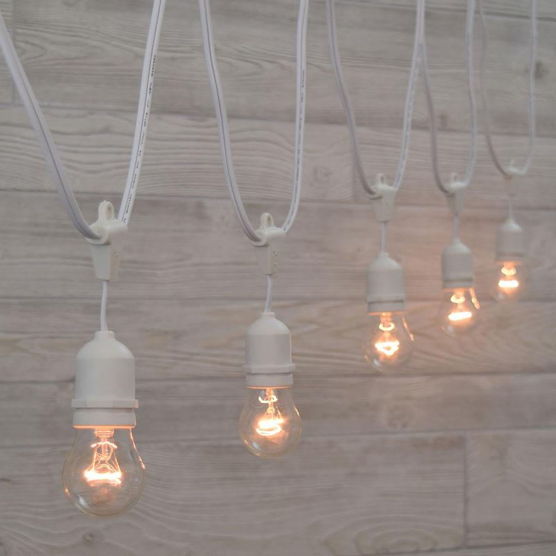 White Suspended Commercial Clear Light Strand Kit