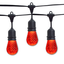 Red LED Faceted Commercial String Lights