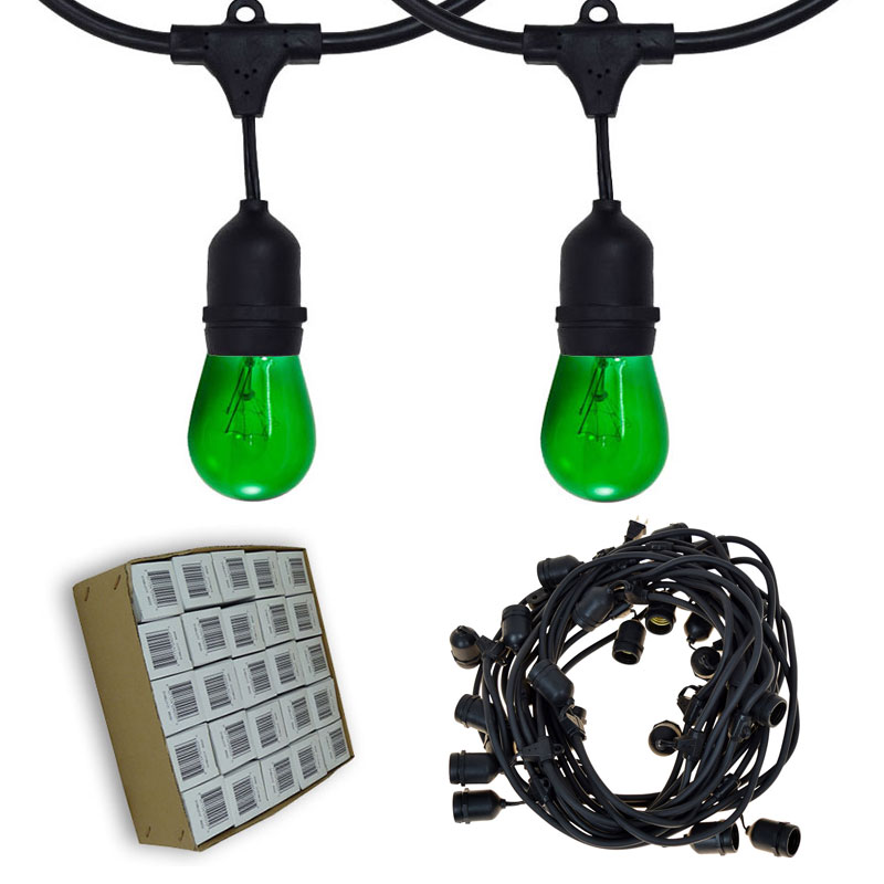 48' Suspended Lucky Green Commercial String Light Kit
