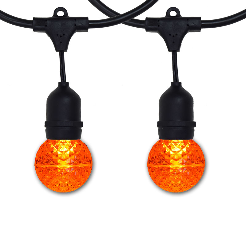 100' G50 Globe Commercial Suspended Light Strand Kit - Amber LED Bulbs