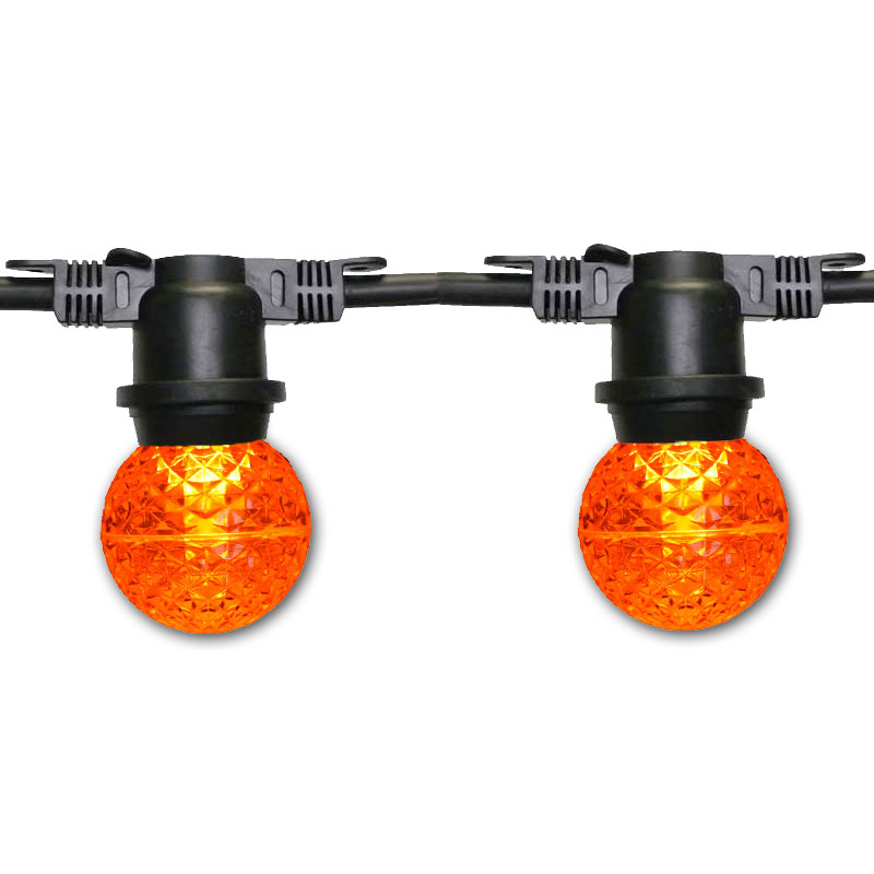 100' G50 Globe Commercial Light Strand Kit - Amber LED Bulbs