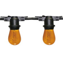 100' Commercial Light Strand Kit - S14 Amber Glass Bulbs - Black Strand LSM-100-BLK-AM-KIT