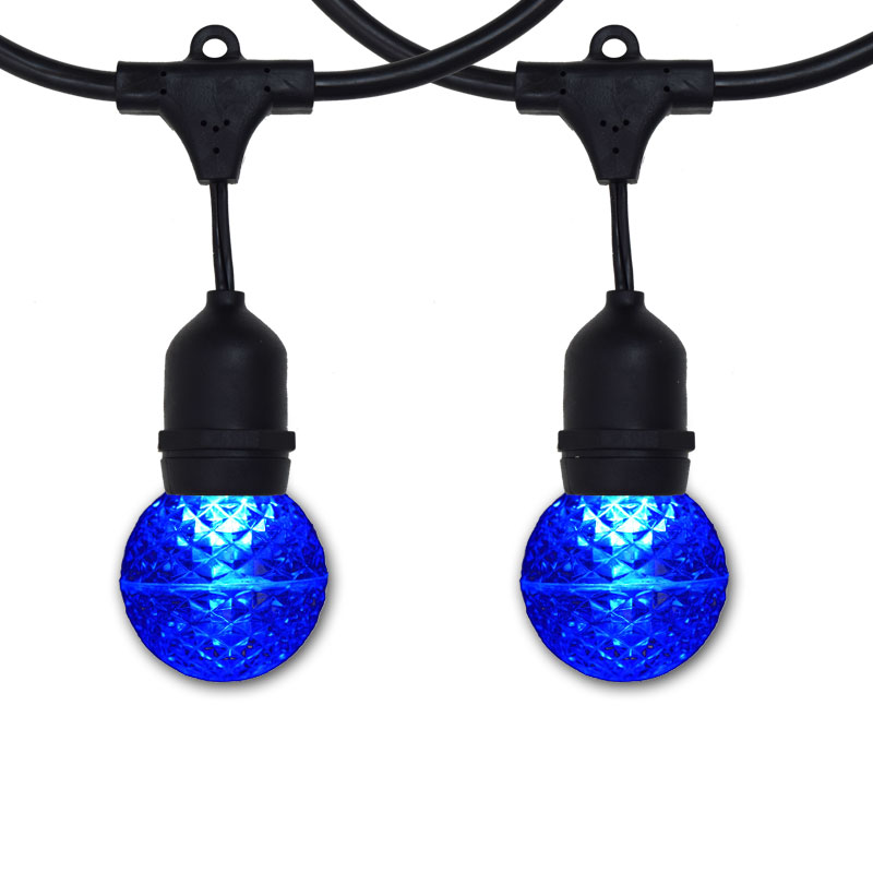 48' Suspended Blue LED Globe Light Strand - Black Wire