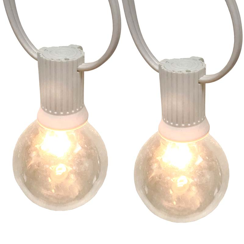 100' Clear Globe String Lights - 7W G50 Glass Bulbs - White C9 Strand OL-C910012-WH-KIT