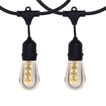 100' Warm White LED Commercial Light Strand Kit - Suspended - Black - Plastic LED